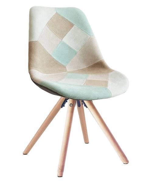 Kondela Gloria jedálenská stolička mentolový patchwork