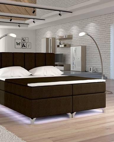 Barino 180 čalúnená manželská posteľ s úložným priestorom tmavohnedá (Sawana 26)