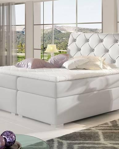 Beneto 140 čalúnená manželská posteľ s úložným priestorom biela