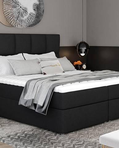 Grosio 145 čalúnená manželská posteľ s úložným priestorom čierna (Sawana 14)