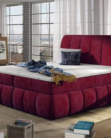 Vareso 140 čalúnená manželská posteľ s úložným priestorom bordová