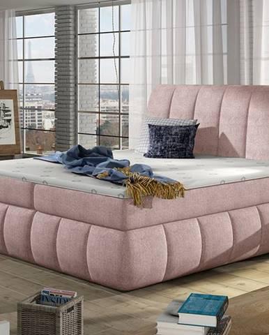 Vareso 180 čalúnená manželská posteľ s úložným priestorom ružová