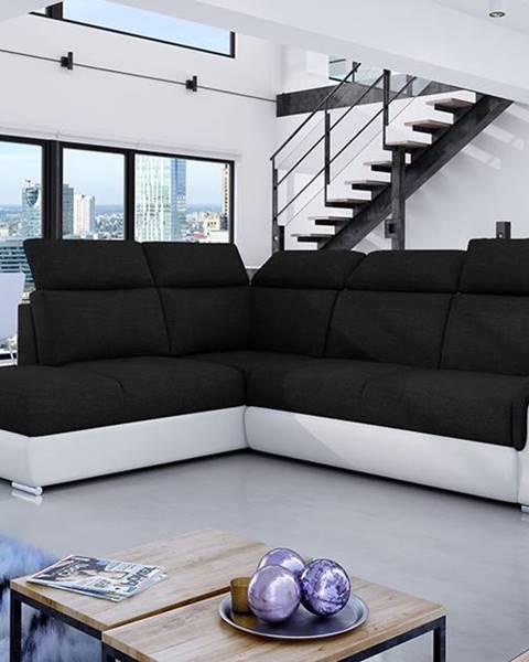 NABBI Leren L rohová sedačka s rozkladom a úložným priestorom čierna