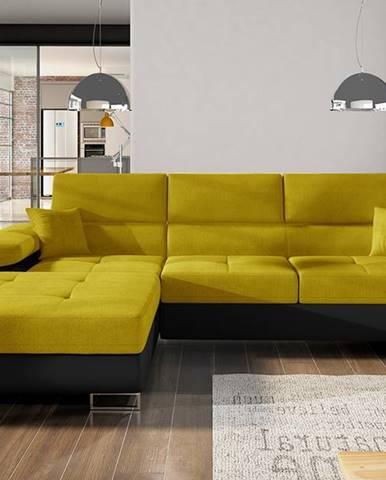 Alkazar L rohová sedačka s rozkladom a úložným priestorom žltá