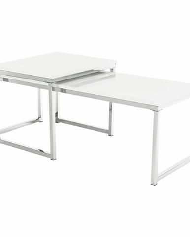 Enisol Typ 2 konferenčný stolík (2 ks) biely vysoký lesk