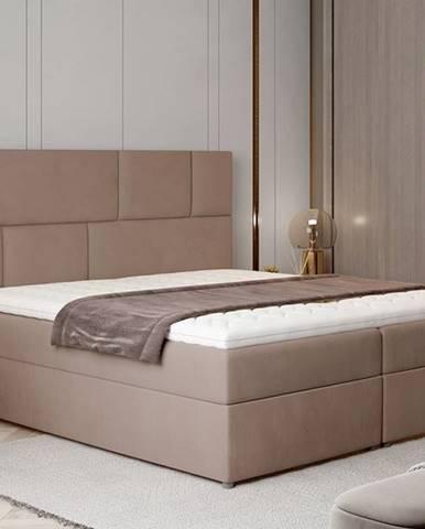 Ferine 145 čalúnená manželská posteľ s úložným priestorom hnedá