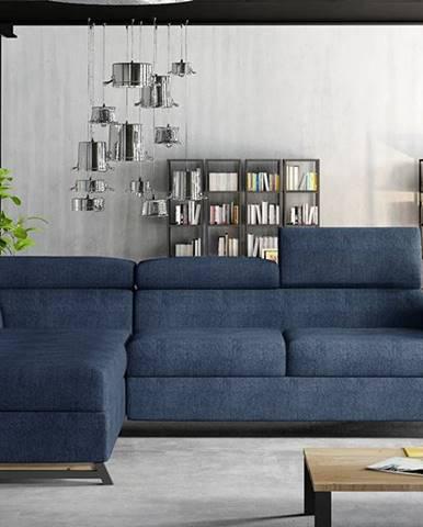 Korense L rohová sedačka s rozkladom a úložným priestorom modrá