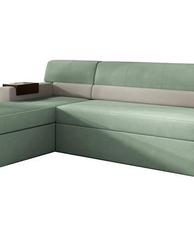 Rieti L rohová sedačka s rozkladom a úložným priestorom mentolová