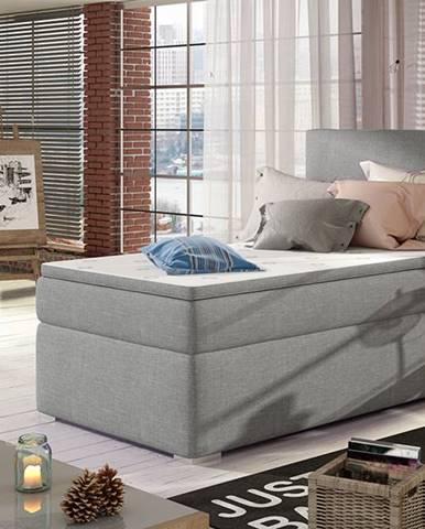 Rodrigo 90 P čalúnená jednolôžková posteľ s úložným priestorom svetlosivá