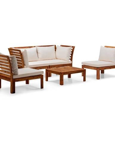 Súprava béžového záhradného nábytku z akáciového dreva Le Bonom Chill