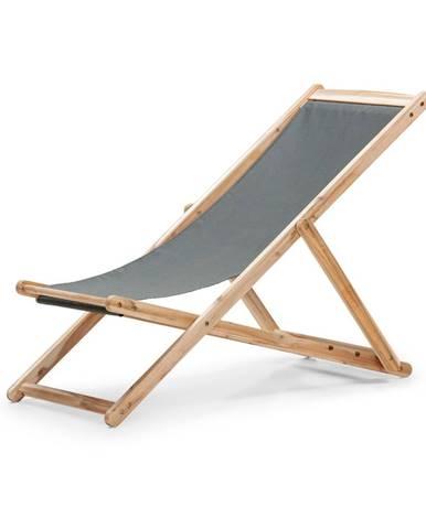 Sivé skladacie záhradné ležadlo z akáciového dreva Le Bonom Deck