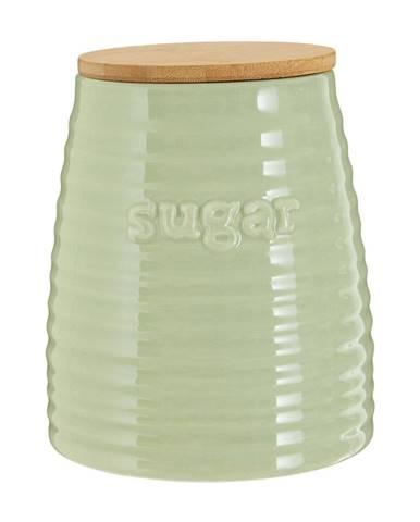 Svetlozelená dóza s bambusovým vrchnákom na cukor Premier Housewares Winnie, 950 ml