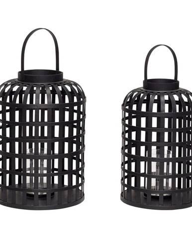 Súprava 2 čiernych bambusových lampášov Hübsch Bamboo Garo