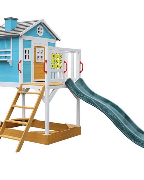Tempo Kondela Drevený záhradný domček pre deti so šmykľavkou a pieskoviskom PORTIO