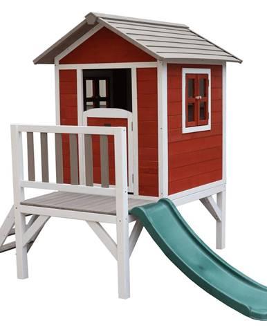 Drevený záhradný domček pre deti so šmykľavkou červená/sivá/biela MAILEN