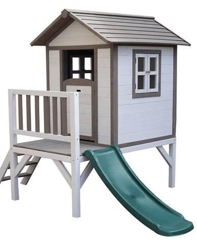 Drevený záhradný domček pre deti so šmykľavkou sivá/biela MAILEN