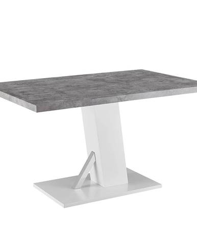 Jedálenský stôl betón/biela extra vysoký lesk BOLAST