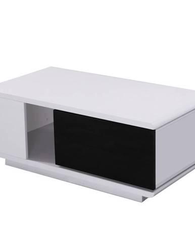 Konferenčný stolík MDF biela/čierna extra vysoký lesk DEMBA LCT300 poškodený tovar