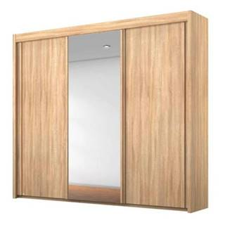 Šatníková skriňa KING dub sonoma, 225 cm, 1 zrkadlo
