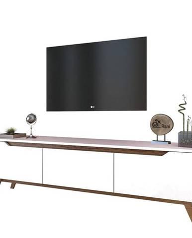 TV stolík QUINN biela/tmavý orech