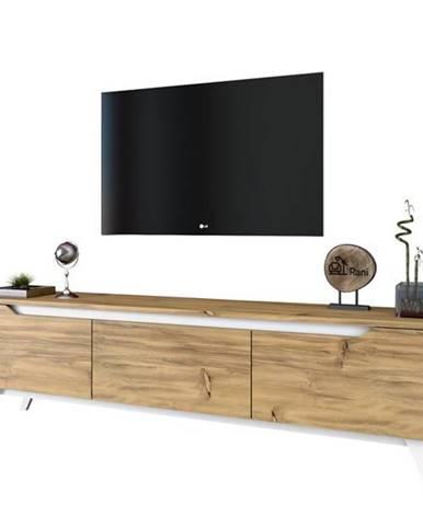 TV stolík QUINN svetlý orech/biela