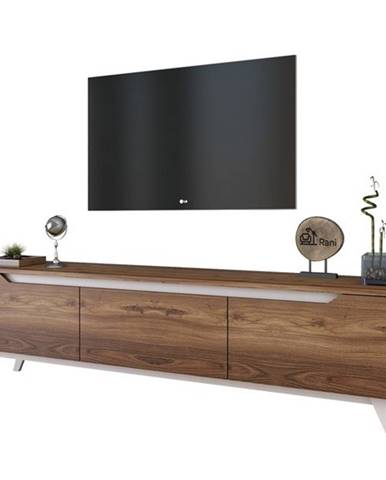 TV stolík QUINN tmavý orech/biela