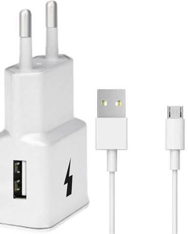Nabíjačka do siete WG 1xUSB, QC 3.0 + Micro USB kabel biela