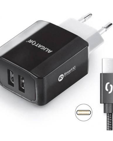 Nabíjačka do siete Aligator 2xUSB, smart IC, 3,4A + USB-C kabel