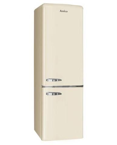 Kombinácia chladničky s mrazničkou Amica Retro Kgcr 387100 B béžov
