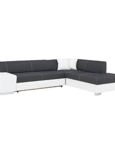 Rohová sedacia súprava pravá ekokoža biela/látka sivá/biele prešitie PETER NEW