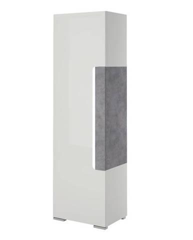 Policová skriňa CANTERO biela vysoký lesk/betón