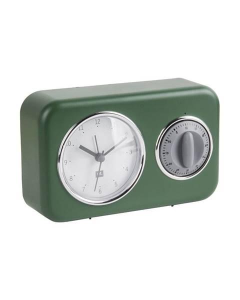 PT LIVING Zelené stolové hodiny s kuchynskou minútkou PT LIVING Nostalgia