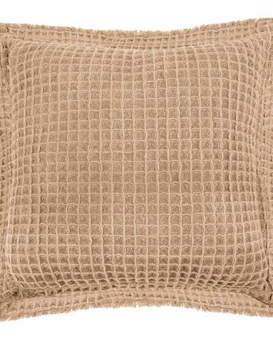 Béžový bavlnený dekoratívny vankúš Tiseco Home Studio Waffle, 45 x 45 cm