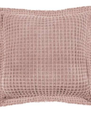 Ružový bavlnený dekoratívny vankúš Tiseco Home Studio Waffle, 45 x 45 cm