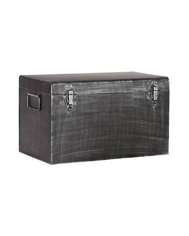 Čierny kovový úložný box LABEL51, dĺžka 60 cm