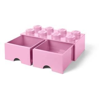 Svetloružový úložný box s dvoma zásuvkami LEGO®