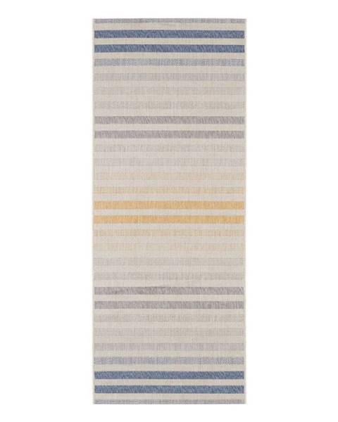 Bougari Modro-oranžový vonkajší koberec Bougari Paros, 80 x 200 cm