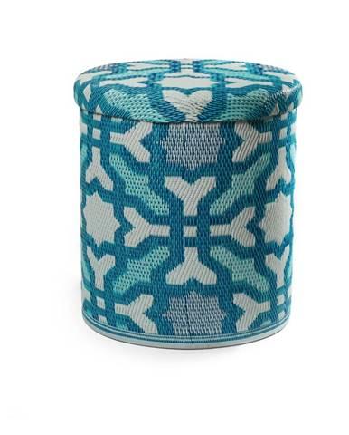 Tyrkysovomodrý vonkajší puf s úložným priestorom Fab Hab Seville Multicolor Blue
