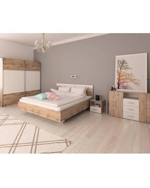 Tempo Kondela Spálňový komplet (posteľ 180x200 cm) dub wotan/biela GABRIELA