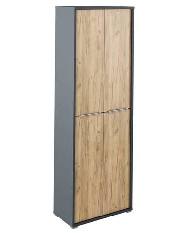 Vysoká skriňa s policami grafit/dub artisan RIOMA NEW TYP 05