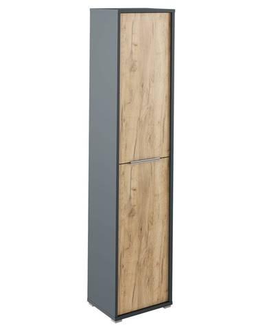 Vysoká skriňa s policami grafit/dub artisan RIOMA NEW TYP 06