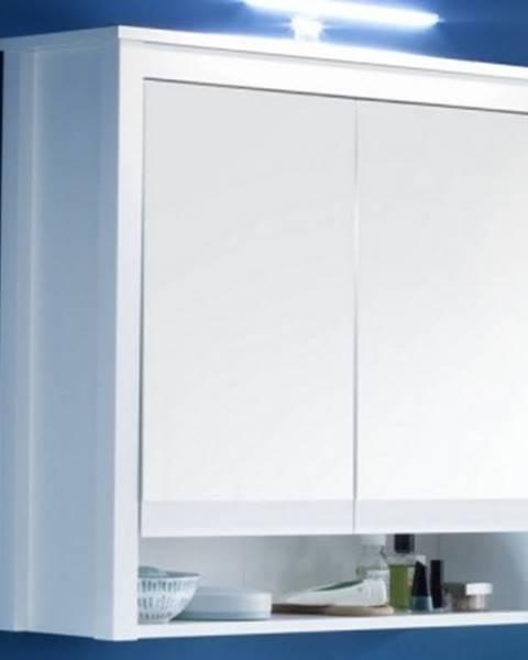 ASKO - NÁBYTOK Kúpeľňová skrinka so zrkadlom Ole, biela, šírka 81 cm%