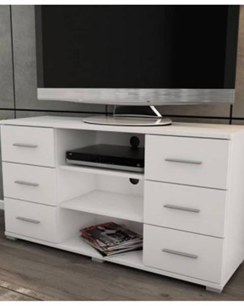 ASKO - NÁBYTOK Vysoký TV stolík Oskar TV, biely, výška 65 cm%