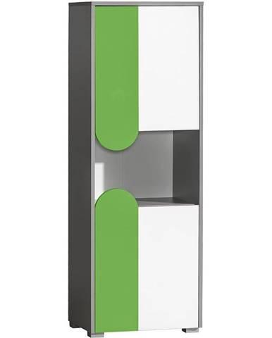 Skriňa Futuro F4 Zelená/Biely/Grafit