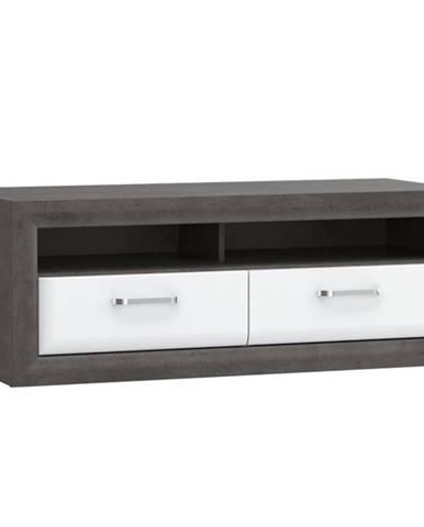 TV stolík Lenox MRYT121 biely lesk/beton