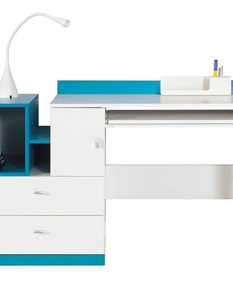 MERKURY MARKET Písací stôl Mobi MO-11 biela/tyrkysová