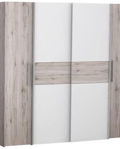 Skriňa Kalixtus 200 4D dub piesok/biely