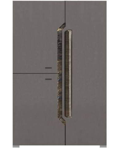 Komoda Davos D15 sivý lesklý/tmavý orech