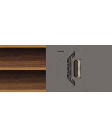 TV stolík Davos D4 sivý lesklý/tmavý orech