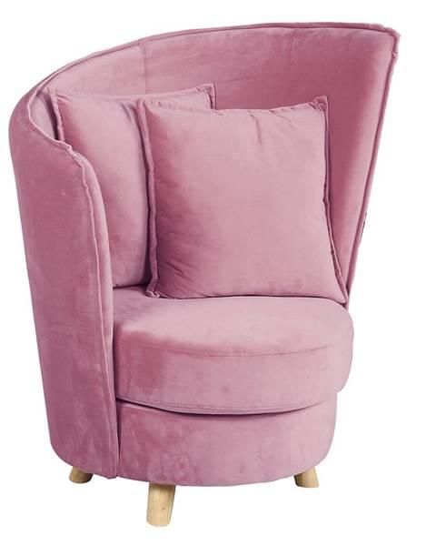 Kondela Kreslo v štýle Art Deco ružová Velvet látka/dub ROUND